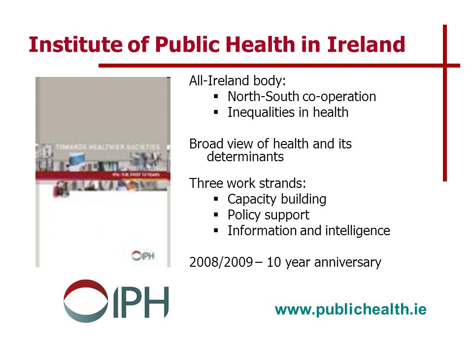 www.publichealth.ie Institute of Public Health in Ireland All-Ireland body:  North-South co-operation  Inequalities in health Broad view of health and its determinants Three work strands:  Capacity building  Policy support  Information and intelligence 2008/2009 – 10 year anniversary