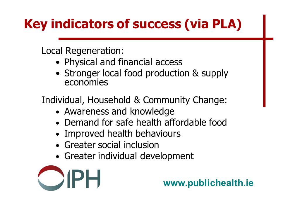 www.publichealth.ie Key indicators of success (via PLA) Local Regeneration: Physical and financial access Stronger local food production & supply economies Individual, Household & Community Change: Awareness and knowledge Demand for safe health affordable food Improved health behaviours Greater social inclusion Greater individual development