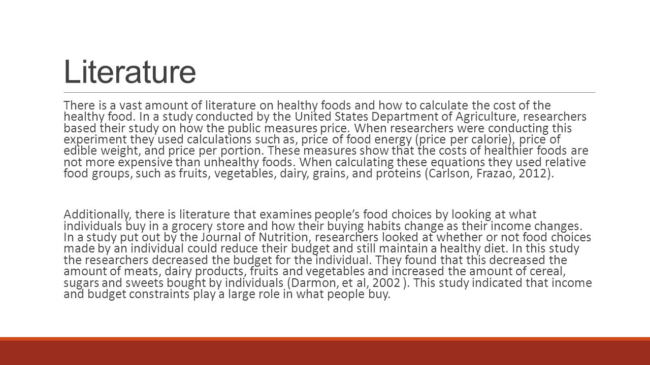 Research Questions Do college students perceive healthier food as being expensive food.