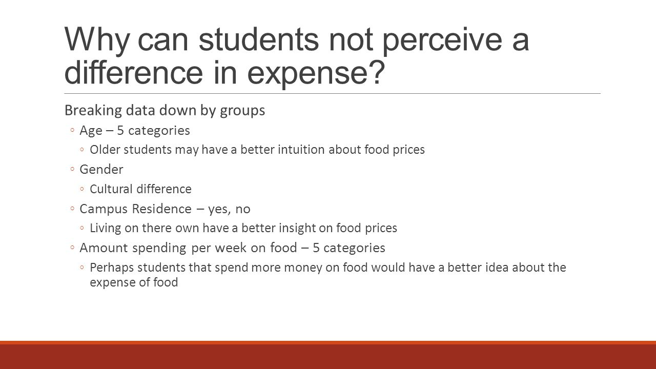 Discussion At this stage of analysis the results show that students can differentiate the healthiness of foods they typically consume, but were unable to differentiate the expense of those foods.