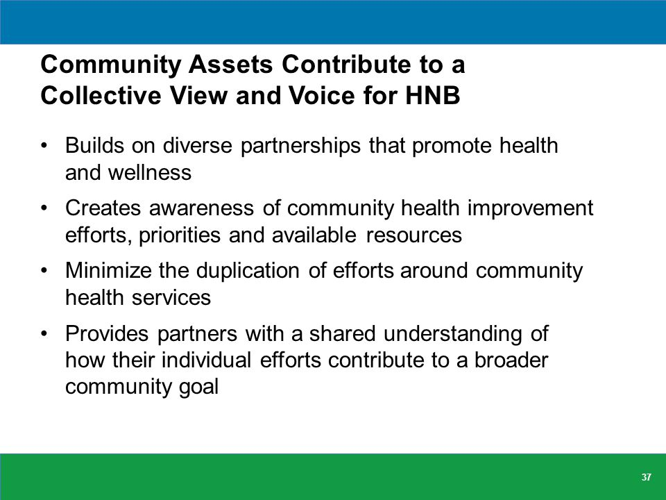 Community Assets Contribute to a Collective View and Voice for HNB Builds on diverse partnerships that promote health and wellness Creates awareness of community health improvement efforts, priorities and available resources Minimize the duplication of efforts around community health services Provides partners with a shared understanding of how their individual efforts contribute to a broader community goal 37