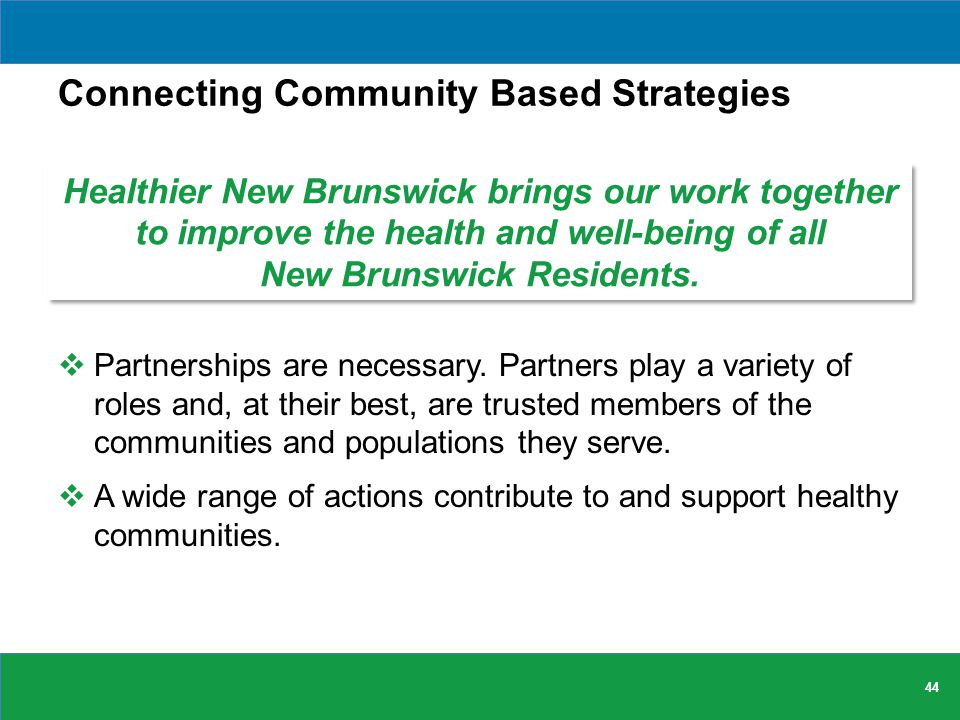 Connecting Community Based Strategies  Partnerships are necessary.