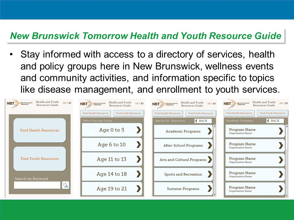 Stay informed with access to a directory of services, health and policy groups here in New Brunswick, wellness events and community activities, and information specific to topics like disease management, and enrollment to youth services.