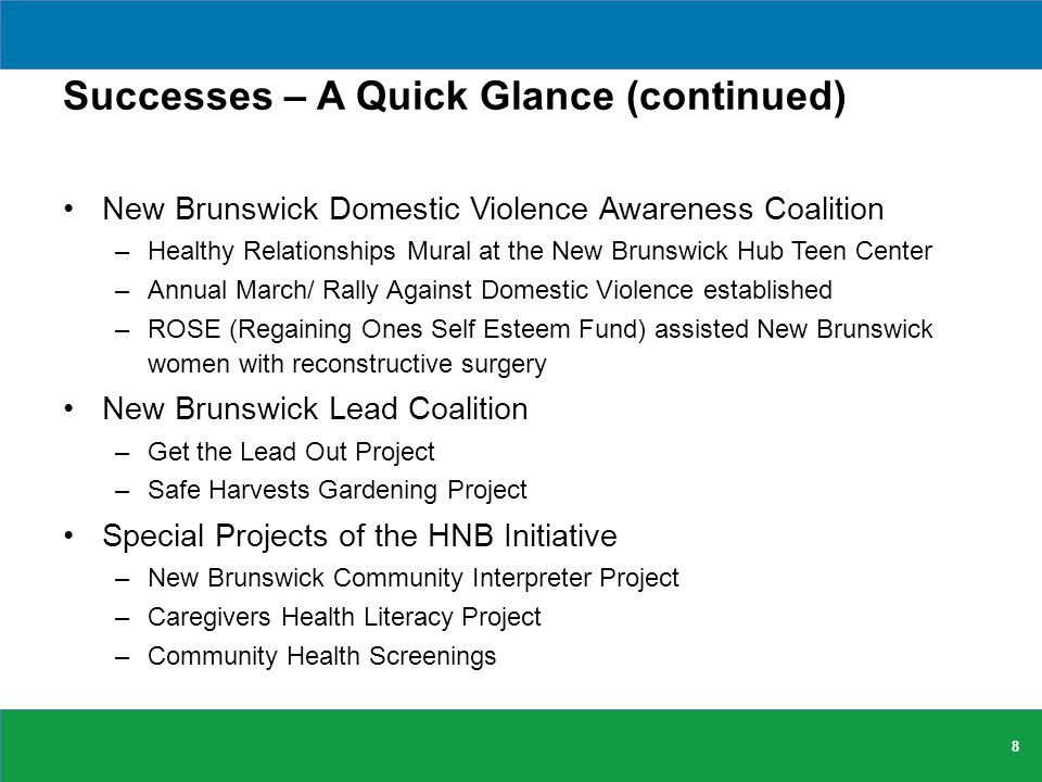 Successes – A Quick Glance (continued) New Brunswick Domestic Violence Awareness Coalition –Healthy Relationships Mural at the New Brunswick Hub Teen Center –Annual March/ Rally Against Domestic Violence established –ROSE (Regaining Ones Self Esteem Fund) assisted New Brunswick women with reconstructive surgery New Brunswick Lead Coalition –Get the Lead Out Project –Safe Harvests Gardening Project Special Projects of the HNB Initiative –New Brunswick Community Interpreter Project –Caregivers Health Literacy Project –Community Health Screenings 8