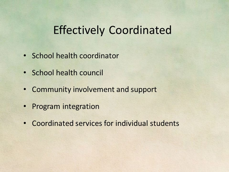 Effectively Coordinated School health coordinator School health council Community involvement and support Program integration Coordinated services for individual students