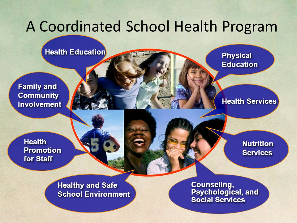 A Coordinated School Health Program Healthy and Safe School Environment Health Promotion for Staff Health Promotion for Staff Physical Education Health Education Health Services Counseling, Psychological, and Social Services Nutrition Services Nutrition Services Family and Community Involvement