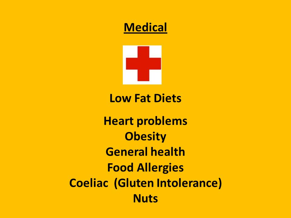 Medical Low Fat Diets Heart problems Obesity General health Food Allergies Coeliac (Gluten Intolerance) Nuts