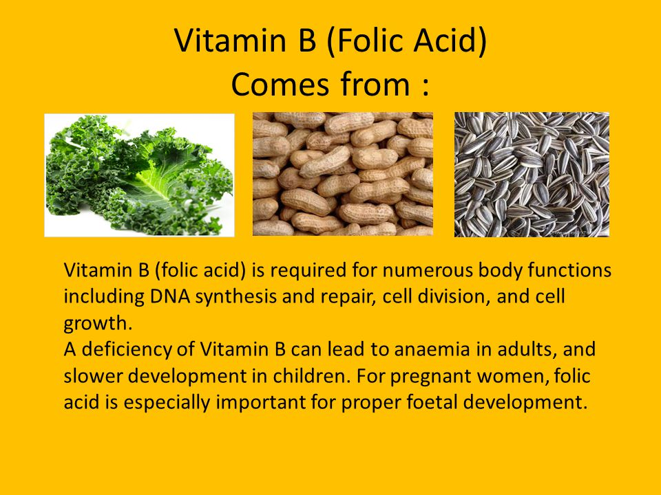 Vitamin B (Folic Acid) Comes from : Vitamin B (folic acid) is required for numerous body functions including DNA synthesis and repair, cell division, and cell growth.