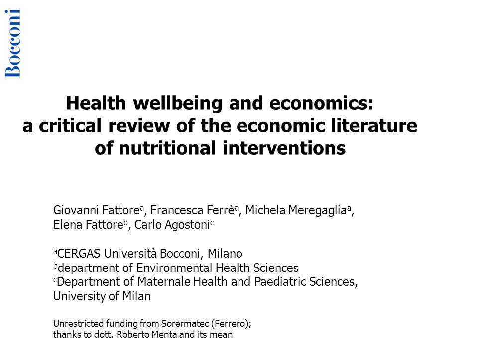 De Gustibus Disputandum Non Est Nutrition & Health Economics 11° World iHEA Conference July 12-15 2015