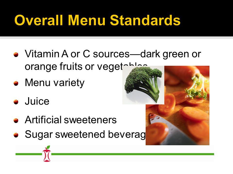 Vitamin A or C sources—dark green or orange fruits or vegetables Menu variety Juice Artificial sweeteners Sugar sweetened beverages