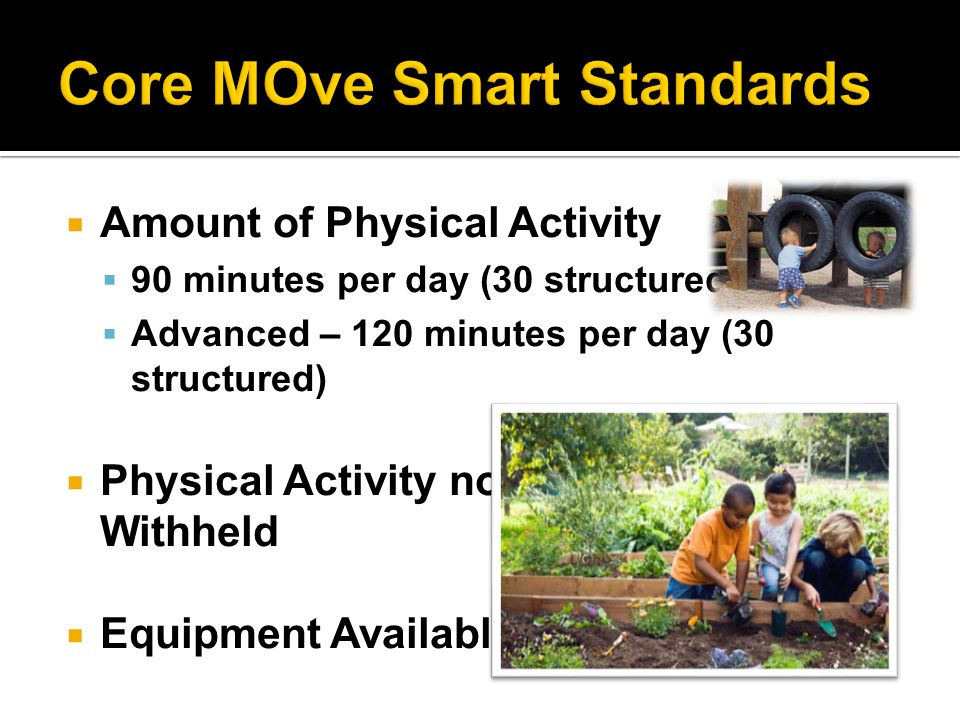  Amount of Physical Activity  90 minutes per day (30 structured)  Advanced – 120 minutes per day (30 structured)  Physical Activity not Withheld  Equipment Available