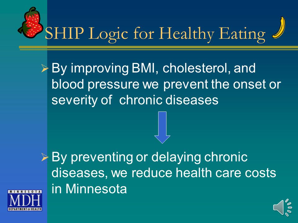 SHIP Logic for Healthy Eating  By increasing fruits and vegetables and decreasing sodium, saturated fat, and added sugar  We improve BMI, cholesterol, and blood pressure