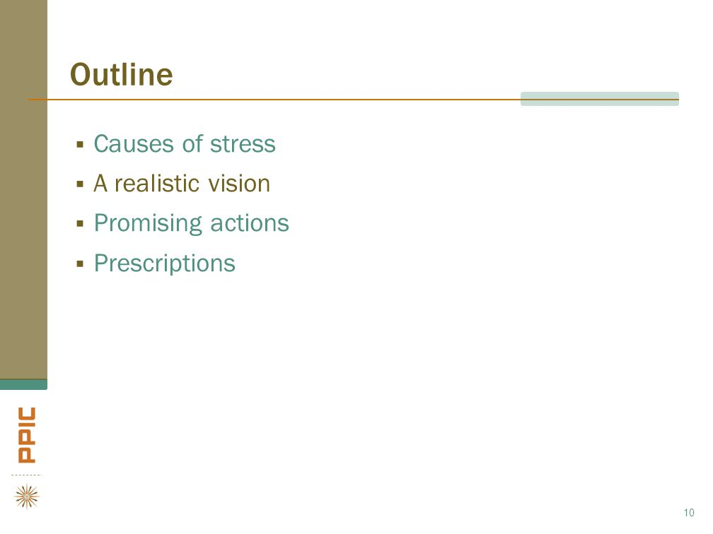 Outline  Causes of stress  A realistic vision  Promising actions  Prescriptions 10