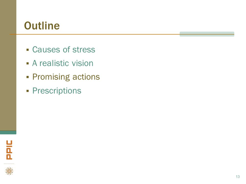 Outline  Causes of stress  A realistic vision  Promising actions  Prescriptions 13