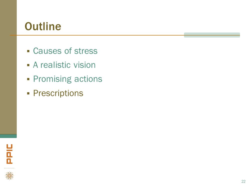 Outline  Causes of stress  A realistic vision  Promising actions  Prescriptions 22