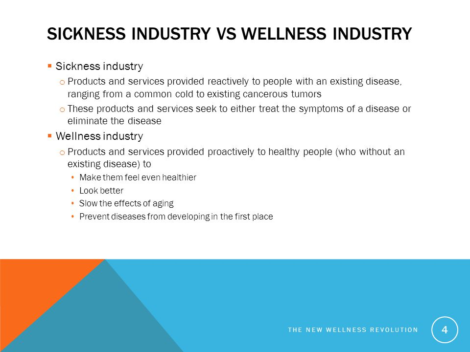 SICKNESS INDUSTRY VS WELLNESS INDUSTRY  Sickness industry o Products and services provided reactively to people with an existing disease, ranging fro
