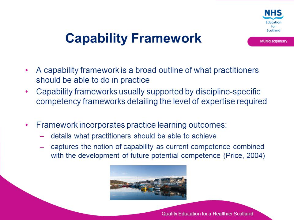 Quality Education for a Healthier Scotland Multidisciplinary Capability Framework A capability framework is a broad outline of what practitioners shou