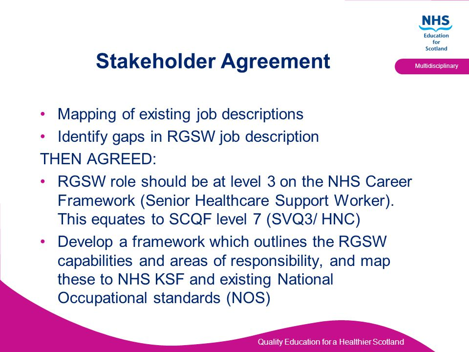 Quality Education for a Healthier Scotland Multidisciplinary Stakeholder Agreement Mapping of existing job descriptions Identify gaps in RGSW job desc