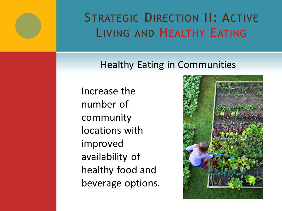 S TRATEGIC D IRECTION II: A CTIVE L IVING AND H EALTHY E ATING State-level Objectives  Increase the number of school districts and child care centers with healthy food procurement practices.