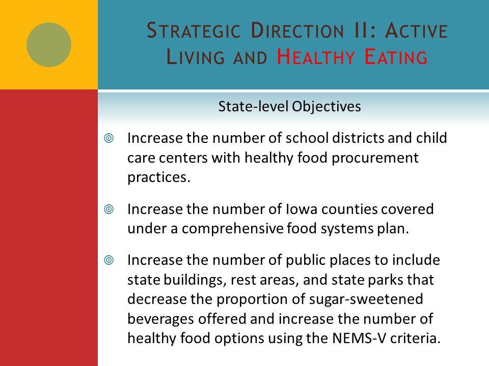S TRATEGIC D IRECTION II: A CTIVE L IVING AND H EALTHY E ATING State-level Objectives  Increase the number of school districts and child care centers with healthy food procurement practices.