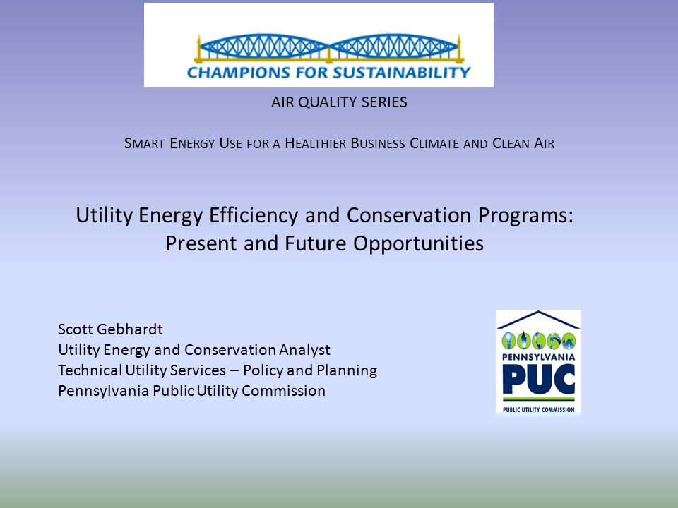 AIR QUALITY SERIES S MART E NERGY U SE FOR A H EALTHIER B USINESS C LIMATE AND C LEAN A IR Utility Energy Efficiency and Conservation Programs: Presen