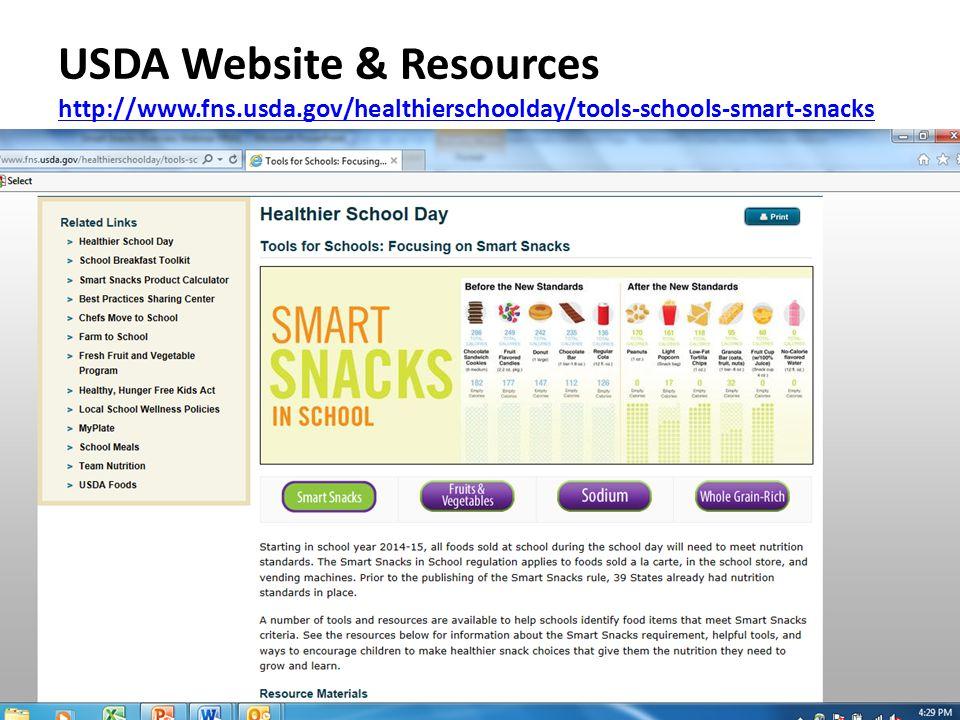 USDA Website & Resources http://www.fns.usda.gov/healthierschoolday/tools-schools-smart-snacks http://www.fns.usda.gov/healthierschoolday/tools-schools-smart-snacks