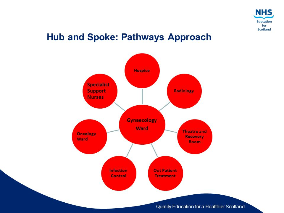 Quality Education for a Healthier Scotland Hub and Spoke: Pathways Approach Gynaecology Ward HospiceRadiology Theatre and Recovery Room Out Patient Treatment Infection Control Oncology Ward Specialist Support Nurses