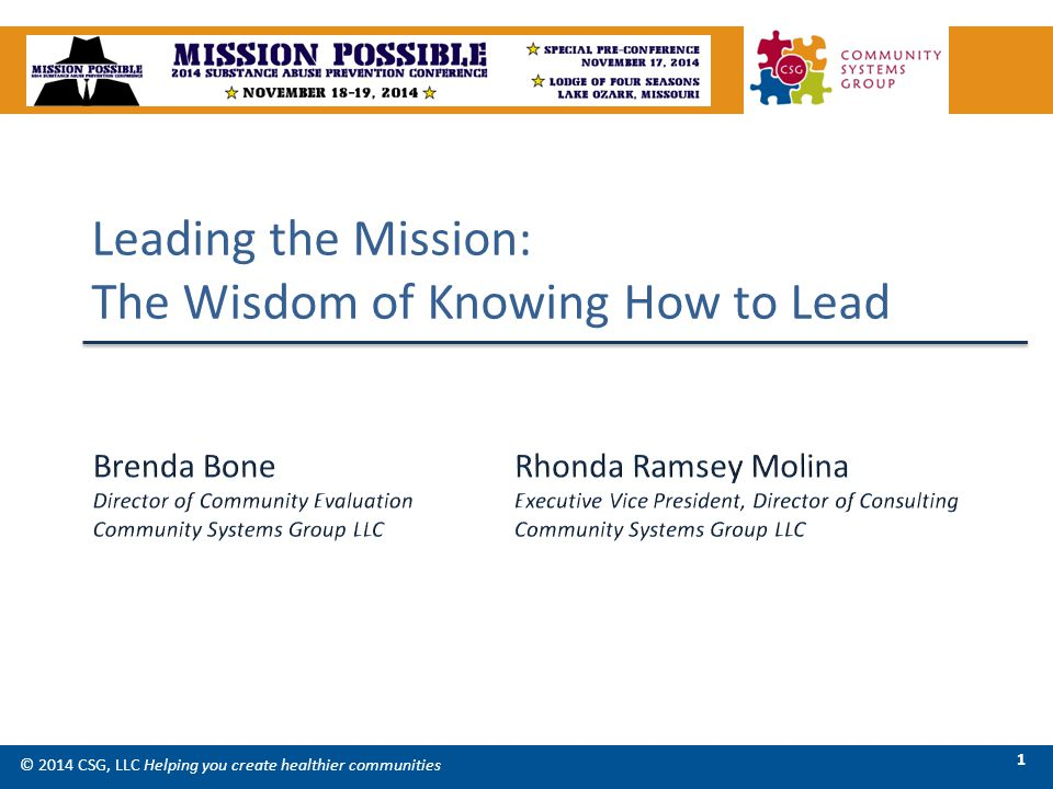 Leading the Mission: The Wisdom of Knowing How to Lead © 2014 CSG, LLC Helping you create healthier communities 1