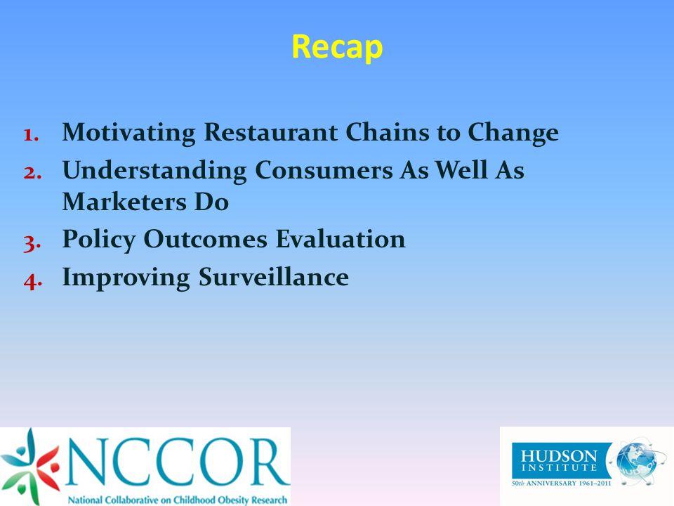 Recap 1. Motivating Restaurant Chains to Change 2.