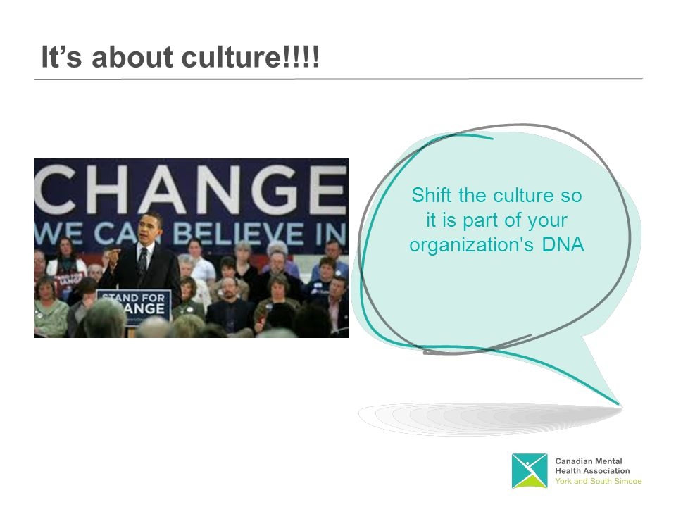 It's about culture!!!! Shift the culture so it is part of your organization s DNA
