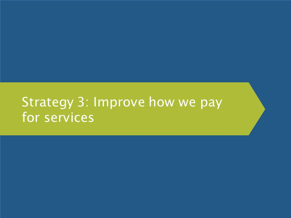 Strategy 3: Improve how we pay for services
