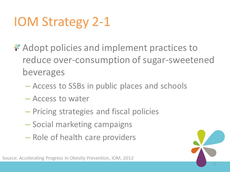 IOM Strategy 2-1 Adopt policies and implement practices to reduce over-consumption of sugar-sweetened beverages – Access to SSBs in public places and schools – Access to water – Pricing strategies and fiscal policies – Social marketing campaigns – Role of health care providers 11 Source: Accelerating Progress in Obesity Prevention, IOM, 2012