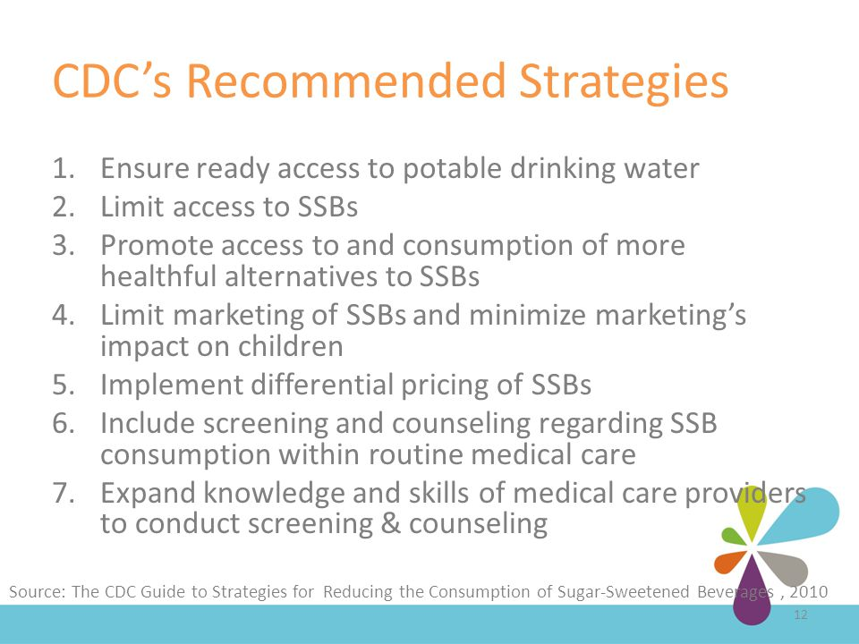 CDC's Recommended Strategies 1.Ensure ready access to potable drinking water 2.Limit access to SSBs 3.Promote access to and consumption of more healthful alternatives to SSBs 4.Limit marketing of SSBs and minimize marketing's impact on children 5.Implement differential pricing of SSBs 6.Include screening and counseling regarding SSB consumption within routine medical care 7.Expand knowledge and skills of medical care providers to conduct screening & counseling 12 Source: The CDC Guide to Strategies for Reducing the Consumption of Sugar-Sweetened Beverages, 2010