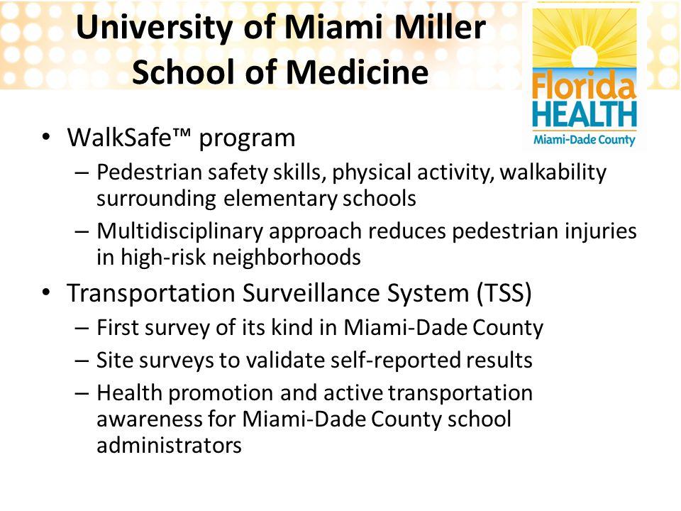 University of Miami Miller School of Medicine WalkSafe™ program – Pedestrian safety skills, physical activity, walkability surrounding elementary scho