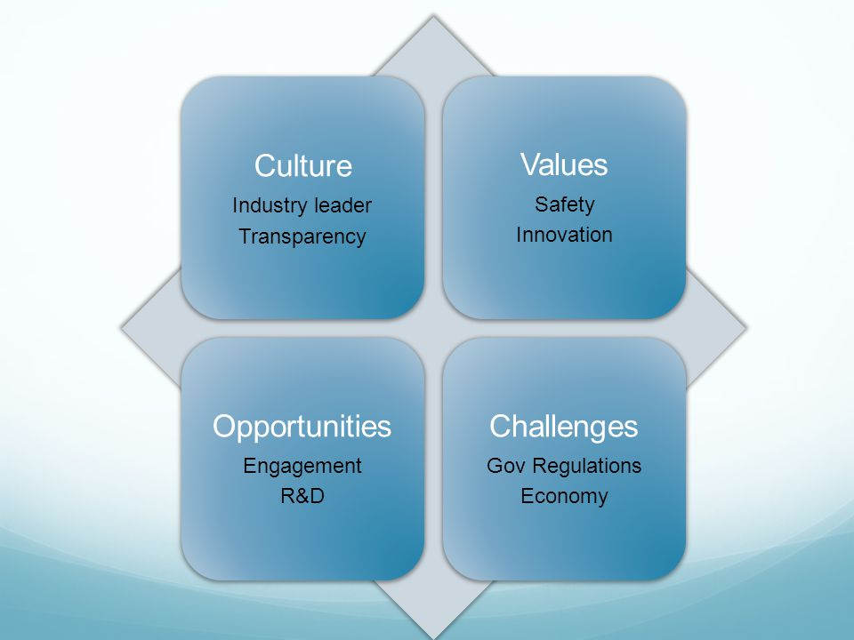 Culture Industry leader Transparency Values Safety Innovation Opportunities Engagement R&D Challenges Gov Regulations Economy