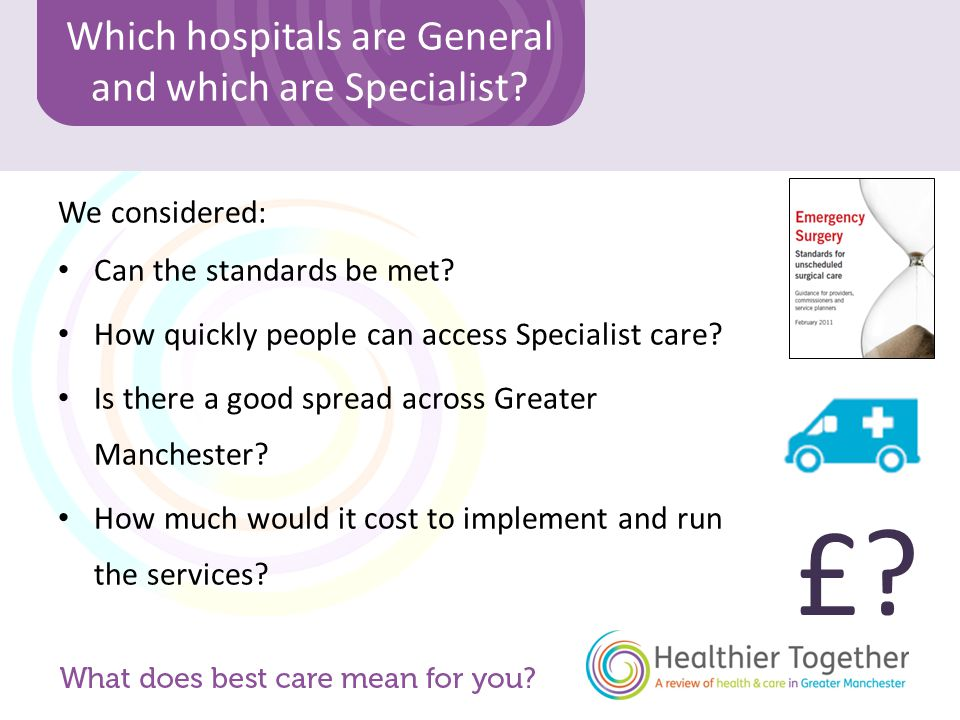 Which hospitals are General and which are Specialist.