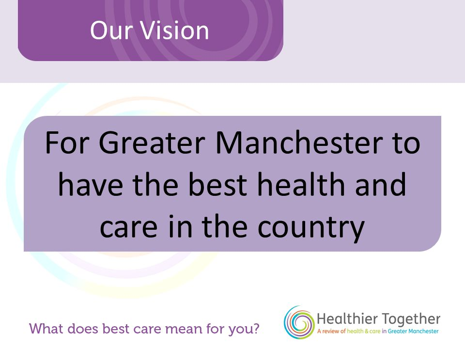 Our Vision For Greater Manchester to have the best health and care in the country
