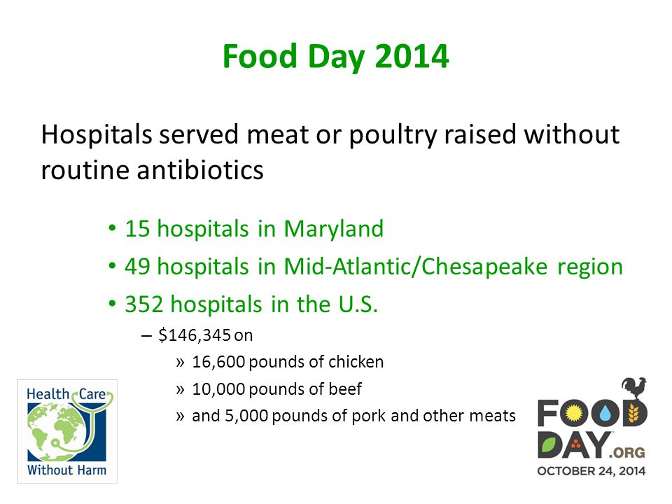 Food Day 2014 Hospitals served meat or poultry raised without routine antibiotics 15 hospitals in Maryland 49 hospitals in Mid-Atlantic/Chesapeake region 352 hospitals in the U.S.