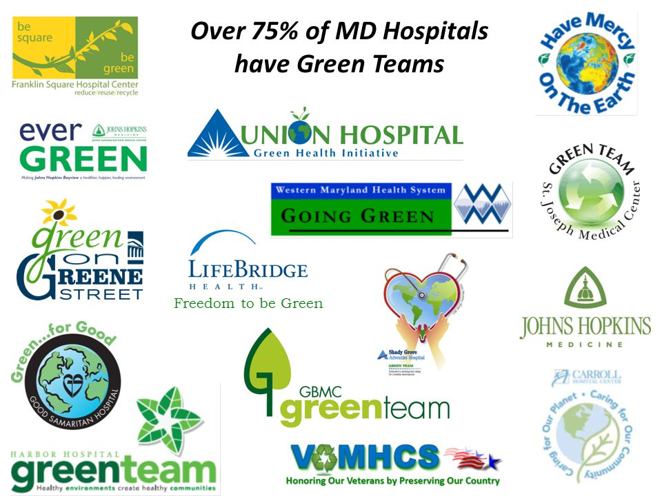 Over 75% of MD Hospitals have Green Teams Freedom to be Green