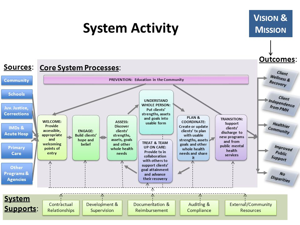 PREVENTION: Education in the Community WELCOME: Provide accessible, appropriate and welcoming points of entry ENGAGE: Build clients' hope and belief ASSESS: Discover clients' strengths, assets, goals and other whole health needs UNDERSTAND WHOLE PERSON: Put clients' strengths, assets and goals into usable form PLAN & COORDINATE: Create or update clients' tx plan with usable strengths, assets goals and other whole health needs and share it TRANSITION: Support clients' discharge to new programs and from public mental health services TREAT & TEAM UP ON CARE: Provide tx in collaboration with others to support clients' goal attainment and advance their recovery Core System Processes: System Supports: Contractual Relationships Development & Supervision Documentation & Reimbursement Auditing & Compliance Community Juv.