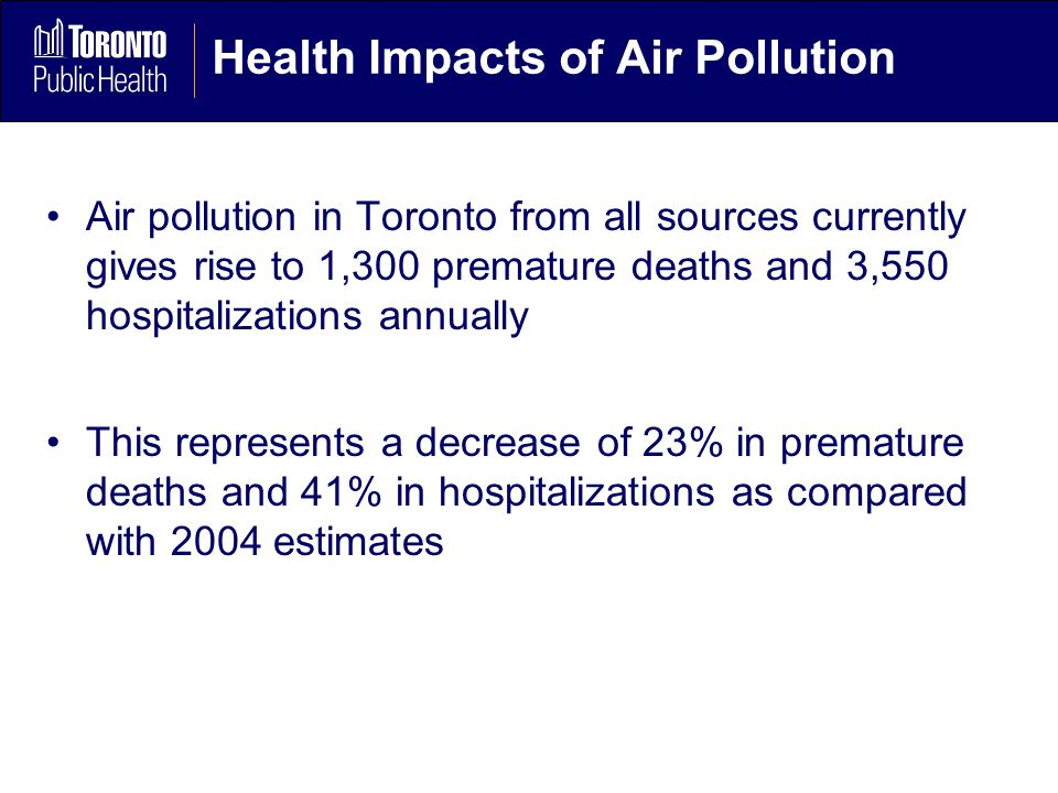 Health Impacts of Air Pollution Air pollution in Toronto from all sources currently gives rise to 1,300 premature deaths and 3,550 hospitalizations annually This represents a decrease of 23% in premature deaths and 41% in hospitalizations as compared with 2004 estimates