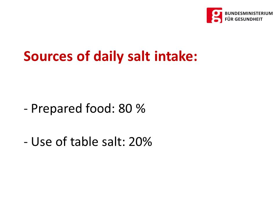 - Bread and pastry: 24 % - Meat products, sausages: 12 % - Cheese: 12 % Main food categories for salt consumption: