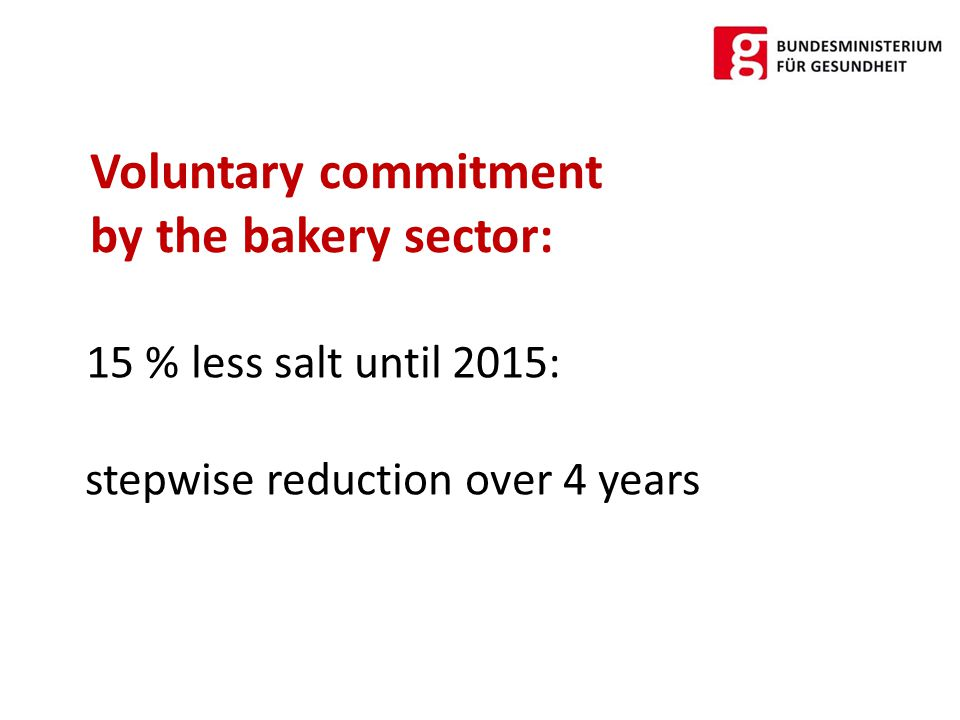  2015: 1,2 g/100g (1,7 g/100g flour) Target Salt content in bread and pastry: