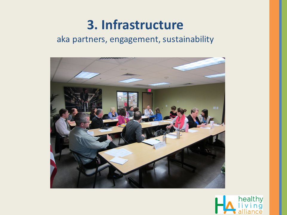 3. Infrastructure aka partners, engagement, sustainability