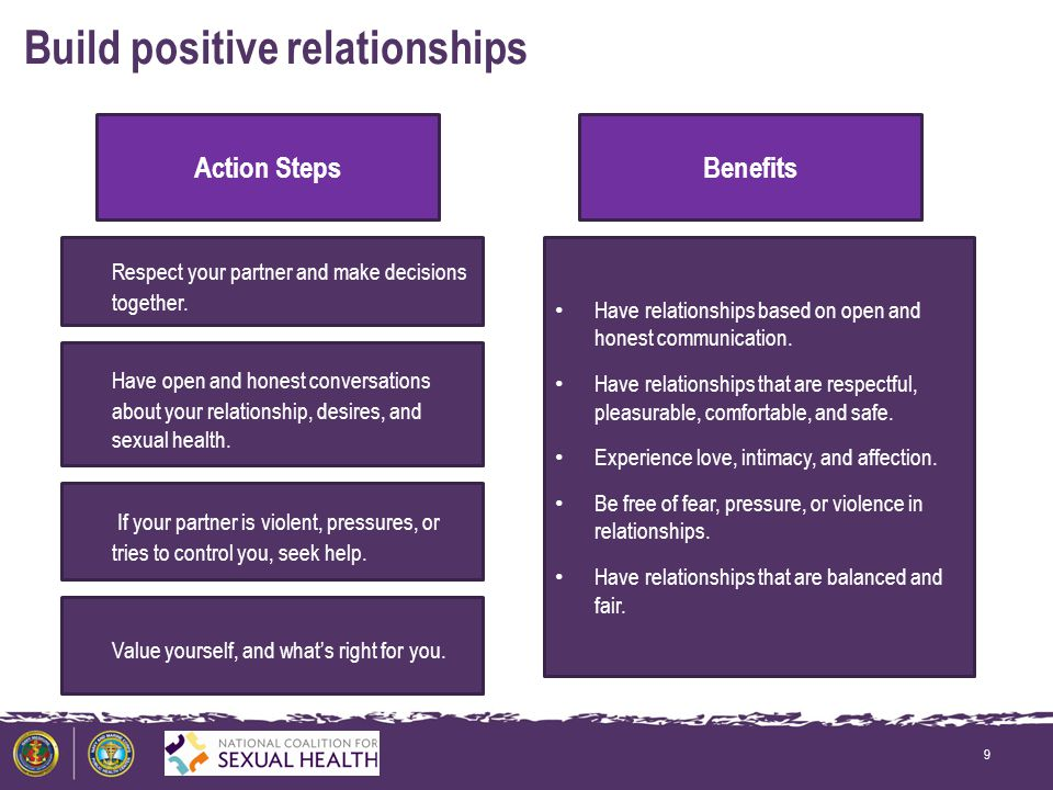 Build positive relationships 9 Action StepsBenefits Have relationships based on open and honest communication.