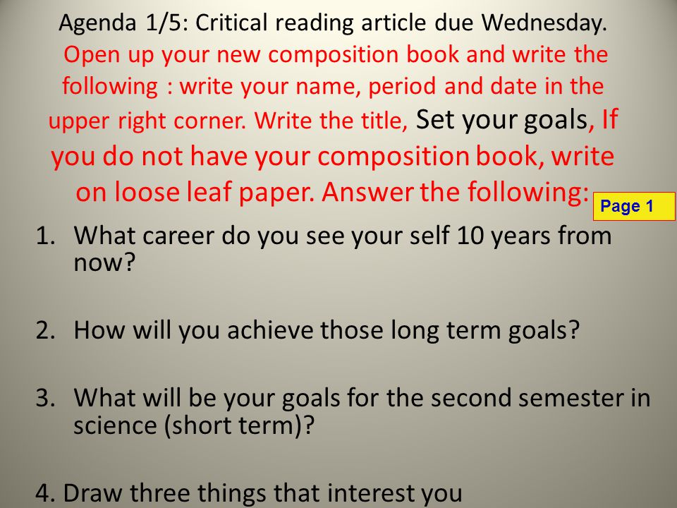 Agenda 1/5: Critical reading article due Wednesday.