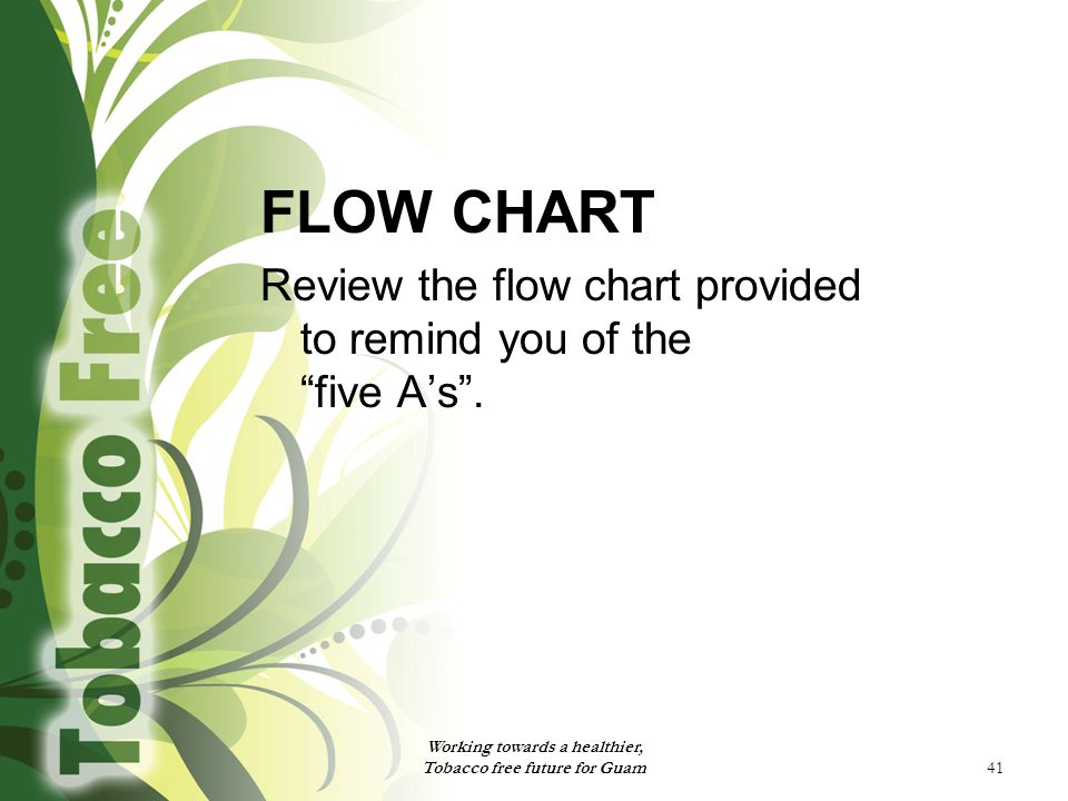 """41 FLOW CHART Review the flow chart provided to remind you of the """"five A's"""". Working towards a healthier, Tobacco free future for Guam"""