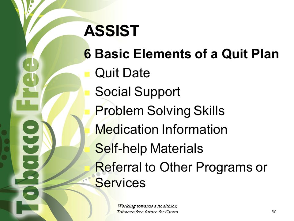 50 ASSIST 6 Basic Elements of a Quit Plan Quit Date Social Support Problem Solving Skills Medication Information Self-help Materials Referral to Other