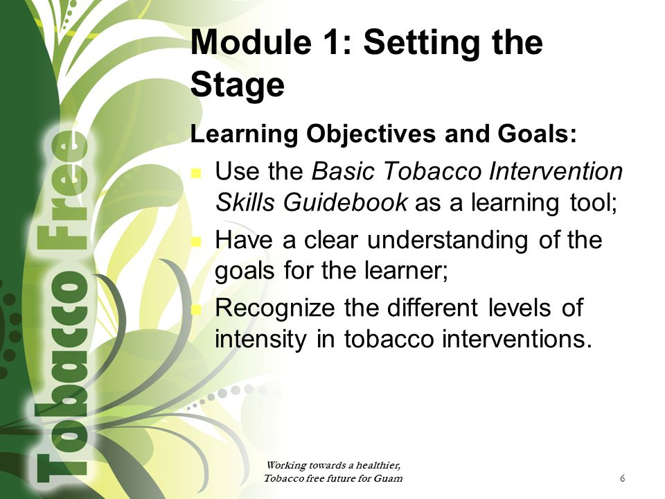 6 Module 1: Setting the Stage Learning Objectives and Goals: Use the Basic Tobacco Intervention Skills Guidebook as a learning tool; Have a clear understanding of the goals for the learner; Recognize the different levels of intensity in tobacco interventions.