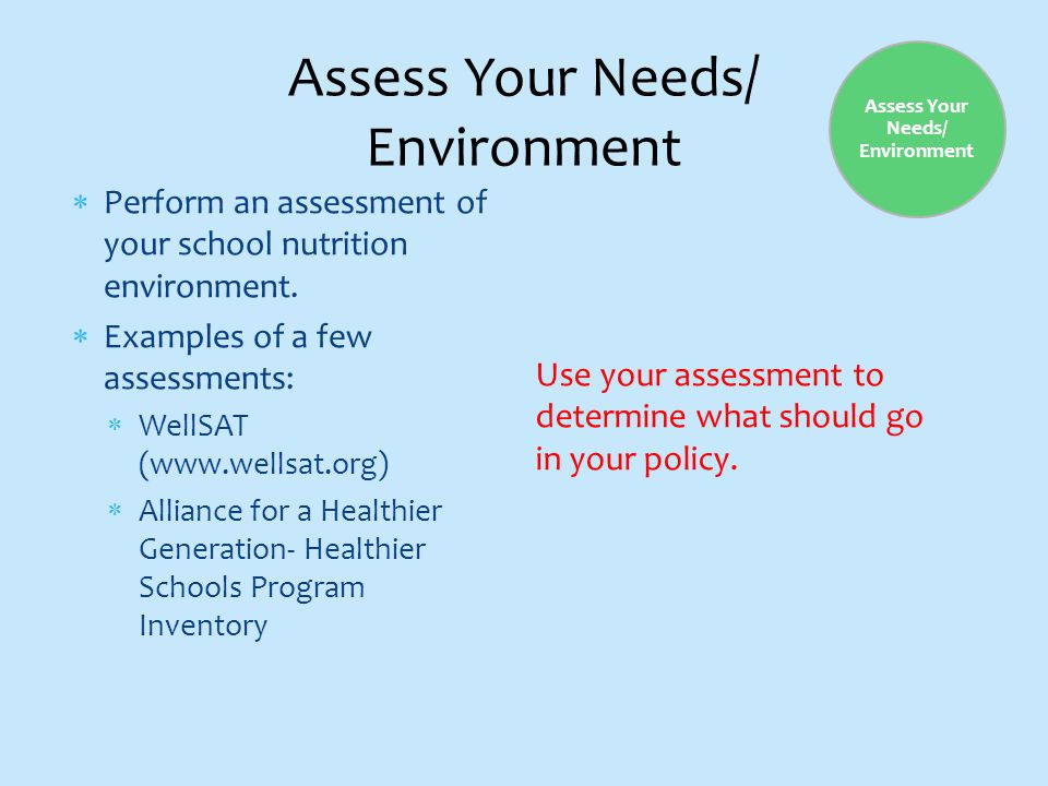 Assess Your Needs/ Environment  Perform an assessment of your school nutrition environment.